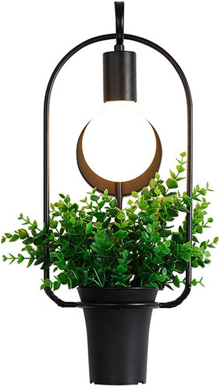 Dekorative Wandleuchte, Pflanze Topf Vintage Stil Eisen Innenbeleuchtung, Bar Schlafzimmer Wohnzimmer Restaurant Balkon Wandlampe, E27(Wandlichter + Künstliche Pflanzen)