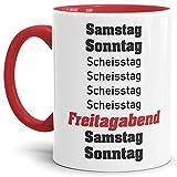 Tassendruck Wochentag-Tasse mit Spruch Samstag, Sonntag, Scheisstag. - Geschenkidee/Montag/Büro/Arbeit/Lustig/Chef/Mitarbeiter Innen & Henkel Rot