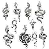 24PCS Mixed Style Antique Silver Cobra Snake Charms Animal Charm Pendant Bracelets Necklace Jewelry Findings Jewelry Making Craft DIY (B034)