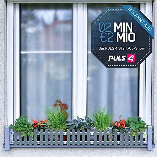 Mediashop Masu Fensterbank Blumenkasten signalgrau Begrünung Balkon Kräutergarten urban Gardening Raumbegrünung variabel von 78 cm bis 130 cm | 2 Minuten 2 Millionen | Powered by