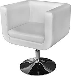 jskjlkl Adjustable Single Sofa Arm Chair with Chrome Base White