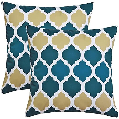 SterneMond Juego de 2 fundas de cojín decorativas resistentes al agua, impresión geométrica exterior, monocolor, para sofá, dormitorio, coche, 70 x 70 cm