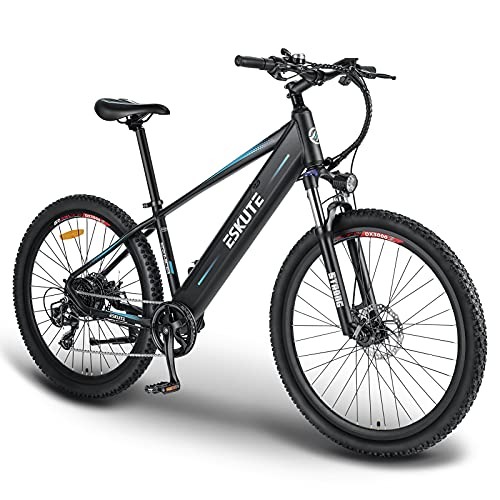 "ESKUTE Electric Mountain Bike 27.5""E-MTB Bicycle 250W with Removable Lithium-ion Battery 48V 10A for Men Adults, Shimano 7 Speed Transmission Gears Double Disc Brakes"