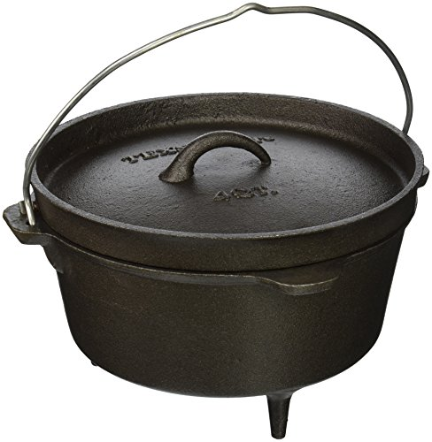 Texsport Cast Iron Dutch Oven with Legs, Lid, Dual Handles and Easy Lift Wire Handle , Black, 4...