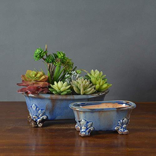 MKKSLR Schön 2 stück Vintage Amerikanischen Sukkulenten Blumentopf Indoor Garten Blumentopf Pflanzgefäße Keramik Möbel Kreativen Schmuck Desktop Fensterbank Bonsai Töpfe Container (Farbe: EIN Paar)