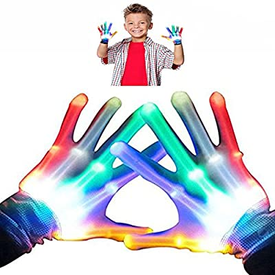 Fricon Toys for 3-7 Year Old Toddlers Baby, LED Flashing Gloves for 3-7 Year Old Boys Gift for 3-7 Year Old Girls Toys for Baby Boys Girls Age 3-7 Easter Rainbow Small KMUSR02