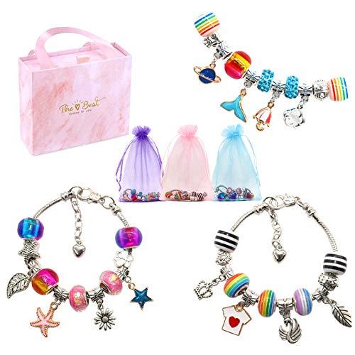 Hayayu Kit de fabricación de pulseras de abalorios para niñas, artes y manualidades en caja de regalo para niños de 8 a 12 años, kit creativo de joyería para niñas