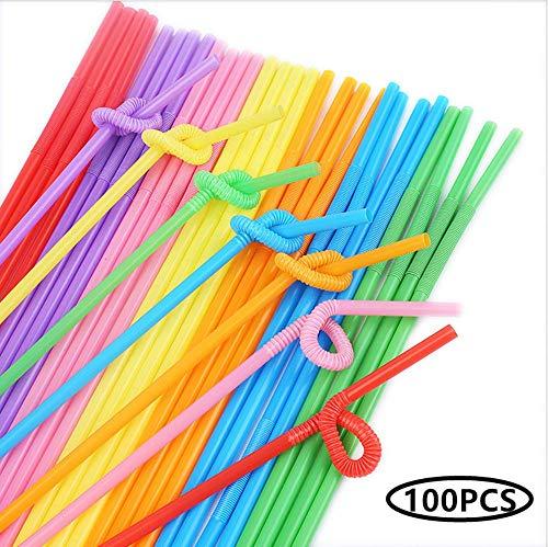 Tweal Pajitas de Plástico,100 PCS Pajitas de Plástico Desechables Flexibles para Bar de Fiesta,Cumpleaños,Celebraciones,Bodas