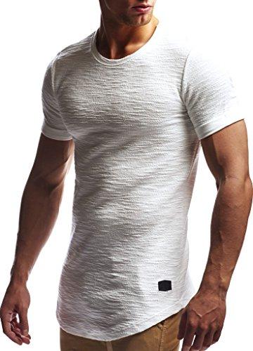 Leif Nelson Herren Sommer T-Shirt Rundhals-Ausschnitt Slim Fit Baumwolle-Anteil Moderner Männer T-Shirt Crew Neck Hoodie-Sweatshirt Kurzarm lang LN6324 Ecru L