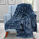 MIEMIE Double Sided Luxury Faux Fur Throw Blanket, Soft Throw Blanket for Couch, Chair, Living Room-Luxury Blanket, Plush, Thick,Fuzzy, Cozy Sherpa 55x60 Throw Blankets for Women/Men Navy Blue