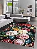 CARPETIA Teppich Wohnzimmer Designerteppich Blumen Herbstblumen Blumenstrauß schwarz rot Größe 160x230 cm