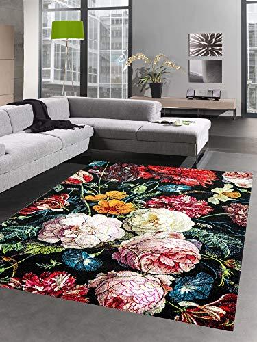 CARPETIA Teppich Wohnzimmer Designerteppich Blumen Herbstblumen Blumenstrauß schwarz rot Größe 140x200 cm