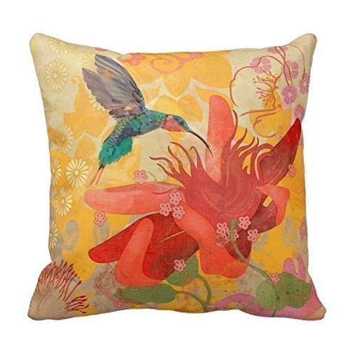 Funda de cojín decorativa de almohada, color morado, azul, aguamarina, colibríes, pájaros, rojo, tropical, funda de almohada 50,8 x 50,8 cm