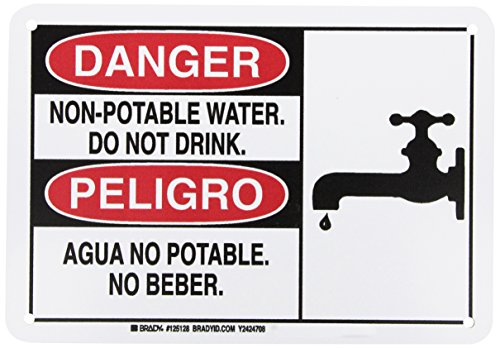 Brady 125128 Bilingual Sign, Legend'Non-Potable Water. Do Not Drink./Agua No Potable. No Beber.', 7' Height, 10' Width, Black and Red on White