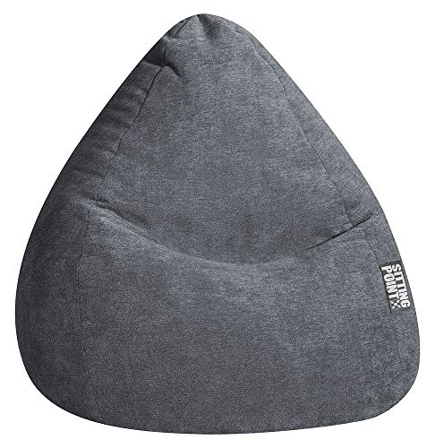 SITTING POINT only by MAGMA Sitzsack ALFA Velours anthrazit XXL ca. 300L
