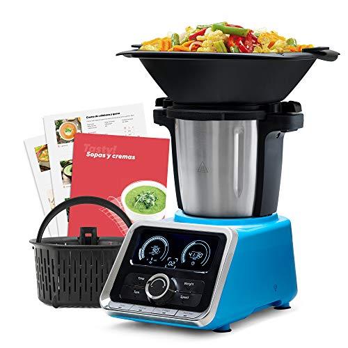 Mellerware - Robot de Cocina Tasty! Capacidad 3.5L Temperatura hasta 120ºC. Temporizador. 12 velocidades + TURBO. Incluye +200 recetas. Báscula integrada. Color Azul