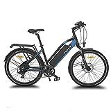 URBANBIKER vélo électrique VTC VIENA (Bleu 26'), Batterie Lithium-ION Samsung 840Wh (48V et 17,5Ah), Moteur 350W, 26 Pouces, Freins hydraulique Shimano.