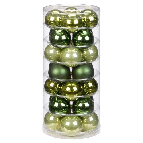 Inge-glas 17082D003 Kugel 60 mm, 28 Stück/Dose, Christmas Greens-Mix(mysticmoos,jagdgrün,lemon)
