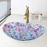 Inicio del grifo Pintada a mano del nuevo baño grifo de lavabo cuenca de vidrio templado mezclador Set de baño baño de latón grifo del recipiente ORB Negro Taps