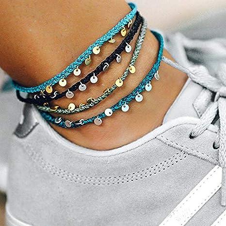 Boho Ankle Bracelets for Women Adjustable Beach Braided Bracelets Anklet Lucky Stone Beaded Anklet String Woven Anklets Cute Friendship Foot Jewelry for Teen Girls