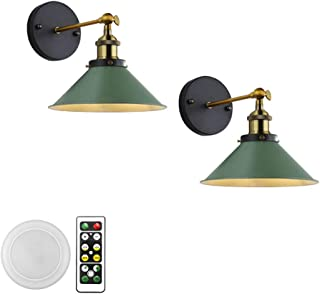 GYC 2-Lights 100 Lumens Led Remote Control Battery Run Cordless Lamp Dark Green Wall Sconce Light Fixture for Bedroom Bath...