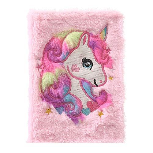 zhongjiany Mädchen Jungen Plüsch A5 Notizbuch Tagebuch 3D Cute Unicorn Animal Designs 80 Seiten(Light Pink)