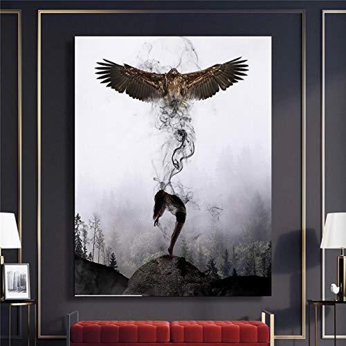 JRLDMD Mujer águila Lienzo Pintura Moderna impresión en Blanco y Negro póster Arte de la Pared Estilo nórdico hogar Sala de Estar decoración Mural Imagen 50x70cmx1 sin Marco