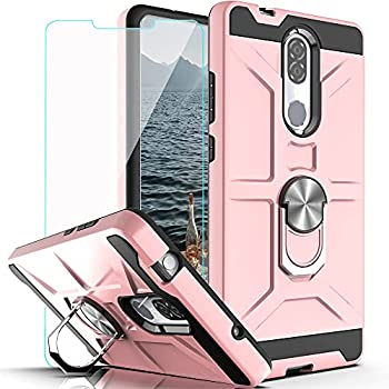 Coolpad Legacy Case  Not Go Version  with HD Screen Protector YmhxcY 360 Degree Rotating Ring Kickstand Holder Dual Layers of Shockproof Phone Case for Coolpad Legacy 6.36 -ZS Rose Gold