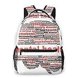Laptop Rucksack Daypack Schulrucksack Backpack Psychotherapie Psychische Gesundheit, Business Taschen Freizeit Rucksack Arbeits Schultasche,für Herren Männer Schüler Schule