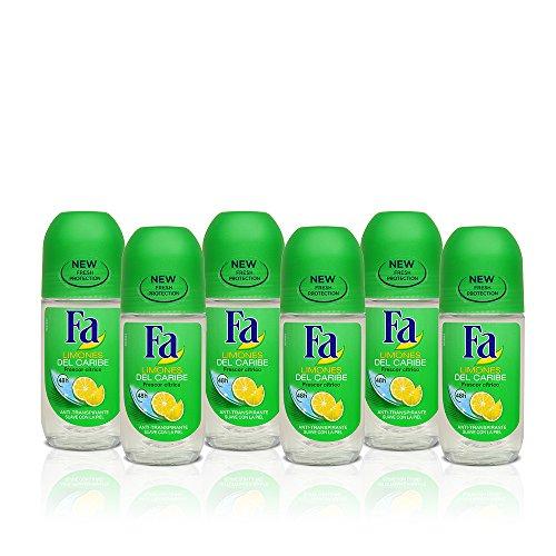 Fa - Desodorante Roll-On Limones del Caribe - 50ml (pack de 6) Total: 300ml