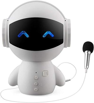 DE帝蓝浦新款机器人蓝牙音响 多功能K歌麦克风迷你小音响节日赠品礼品 白色