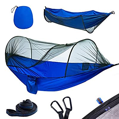 yoomo Camping Hammock with Mosquito Net & Tree Straps Lightweight Parachute Fabric Travel Bed for Hiking,Some Products got a Little Oil Stains During Transportation.(08-Blue)
