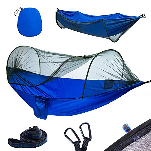 YOOMO Camping Hammock with Mosquito Net & Tree Straps Lightweight Parachute Fabric Travel Bed for Hiking, Backpacking, Backyard. (Blue)