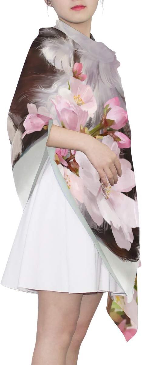 XLING Fashion Scarf Floral Flower Cherry Blossom Animal Cat Long Lightweight Sunscreen Scarf Shawl Wrap Muffler Neckerchief for Women Men