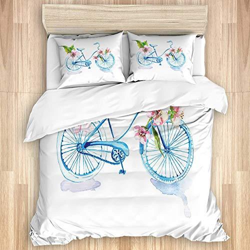 CANCAKA Parure de lit Adulte,Bicyclette texturée à l'aquarelle d'inspiration Grungy avec Figurine de véhicule Romantique d'orchidées,1 Housse de Couette 220 x 240 cm + 2 Taies d'Oreillers 50 x 75cm