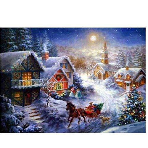 JUNYYANG 5D DIY Landscape Diamond Painting Winter Snow House by Number Kits para la decoración de la Pared Regalo, Bordado Cross Stitch Arts Mosaic, Full Dril, 40x50cm