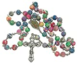 pioneer clan - collana con rosario in argilla polimerica, con perline colorate, stile 1