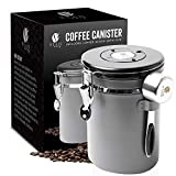 Bean Envy Airtight Coffee Canister - LARGE 22.5 oz - Includes Stainless Steel Scoop & Integrated Silicone Base - Sealed Cantilever Lid - Co2 Gas Release Wicovalve & Numerical Day/Month Tracker – Gray