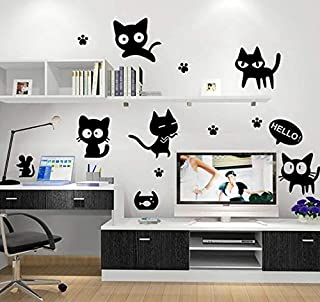 Cartoon Black Cat Decorative Sitting Room Children Room Wall Sticker Wallpaper