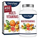 *Multivitaminas i Minerals - 450 Comprimits Vegans (Subministrament per a 1+ any) - Totes les Vitamines A,B,C,D3,E, Calci, Zinc, Seleni – *Multivitamínicos Actius Essencials per a Homes i Dones