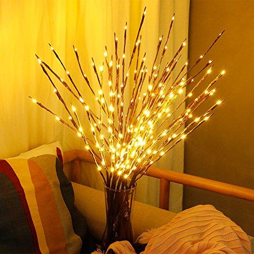 MUXAN - Guirnalda de 20 luces LED con ramas de sauce iluminadas, luces decorativas para Navidad, Pascua, Halloween y cumpleaños (blanco cálido, 1 unidad)