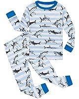 Shark Little Boys Long Sleeve Pajamas 100% Cotton Stripe Sleepwear Size 6