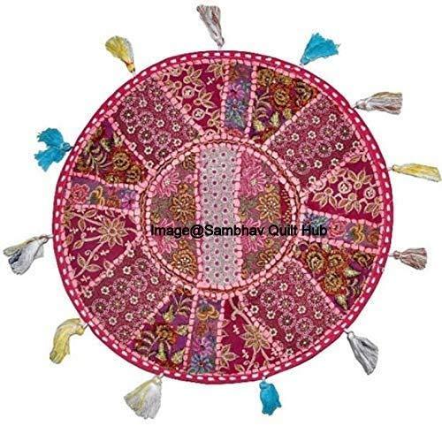 Color rosa indio Patchwork algodón Boho Chic Bohemia Bordado a Mano Ronda Almohadas de piso y Funda de cojín Puf Asientos Otomano