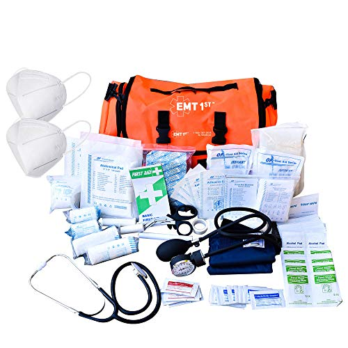 EMT 1st Emergency Responder First Aid Kit | Medical Trauma Bag for Disaster Preparedness | Perfect for Wilderness, Camping, Home, Car, & Office | Our Lightweight Kits Come with 41 Unique Items