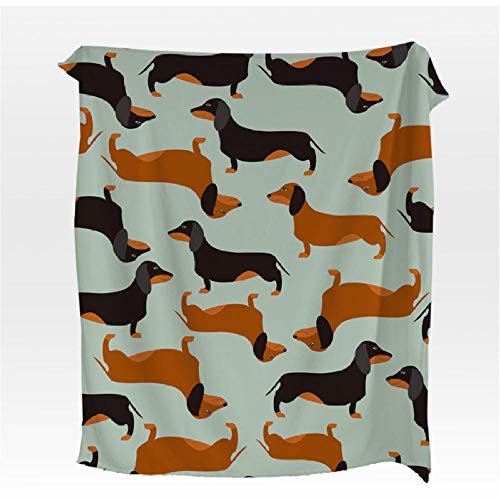 Xzfddn Dachshund Manta de franela de dibujos animados colorida manta de coral para niños manta de cama de perro cachorro cálido y suave colchas