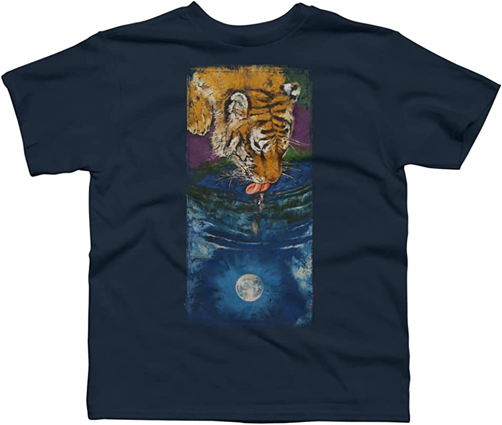 Design By Humans Tiger Moon Boys Graphic Tee