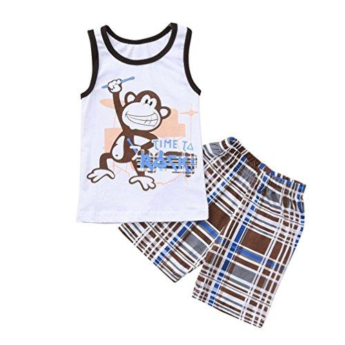 PAOLIAN Conjuntos para Bebes niños Verano 2018 Ropa para niños Bautizo Camisetas + Pantalones Corta Impresion Mono y Cuadros Sin Manga de 18 Meses 24 Meses 3 años 4 años 5 años 6 años