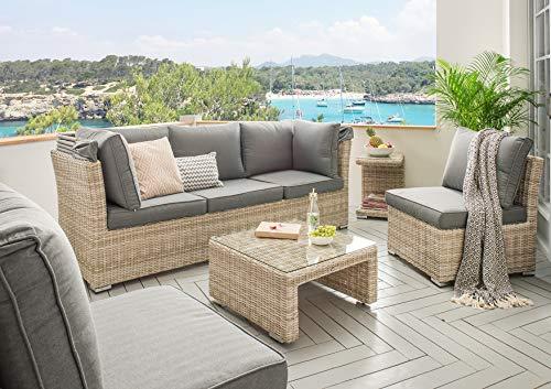 Destiny Lounge Loungegruppe Aruba Sitzgruppe Sofaset Faltdach Polyrattan (76070) - 9