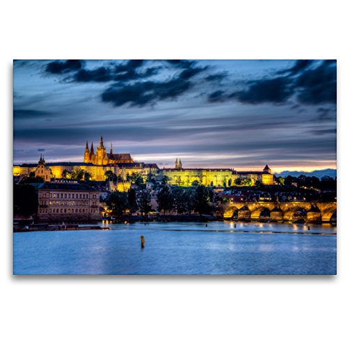 Premium Textil-Leinwand 120 x 80 cm Quer-Format Prager Burg - Tschechien   Wandbild, HD-Bild auf Keilrahmen, Fertigbild auf hochwertigem Vlies, Leinwanddruck von Thomas Klinder