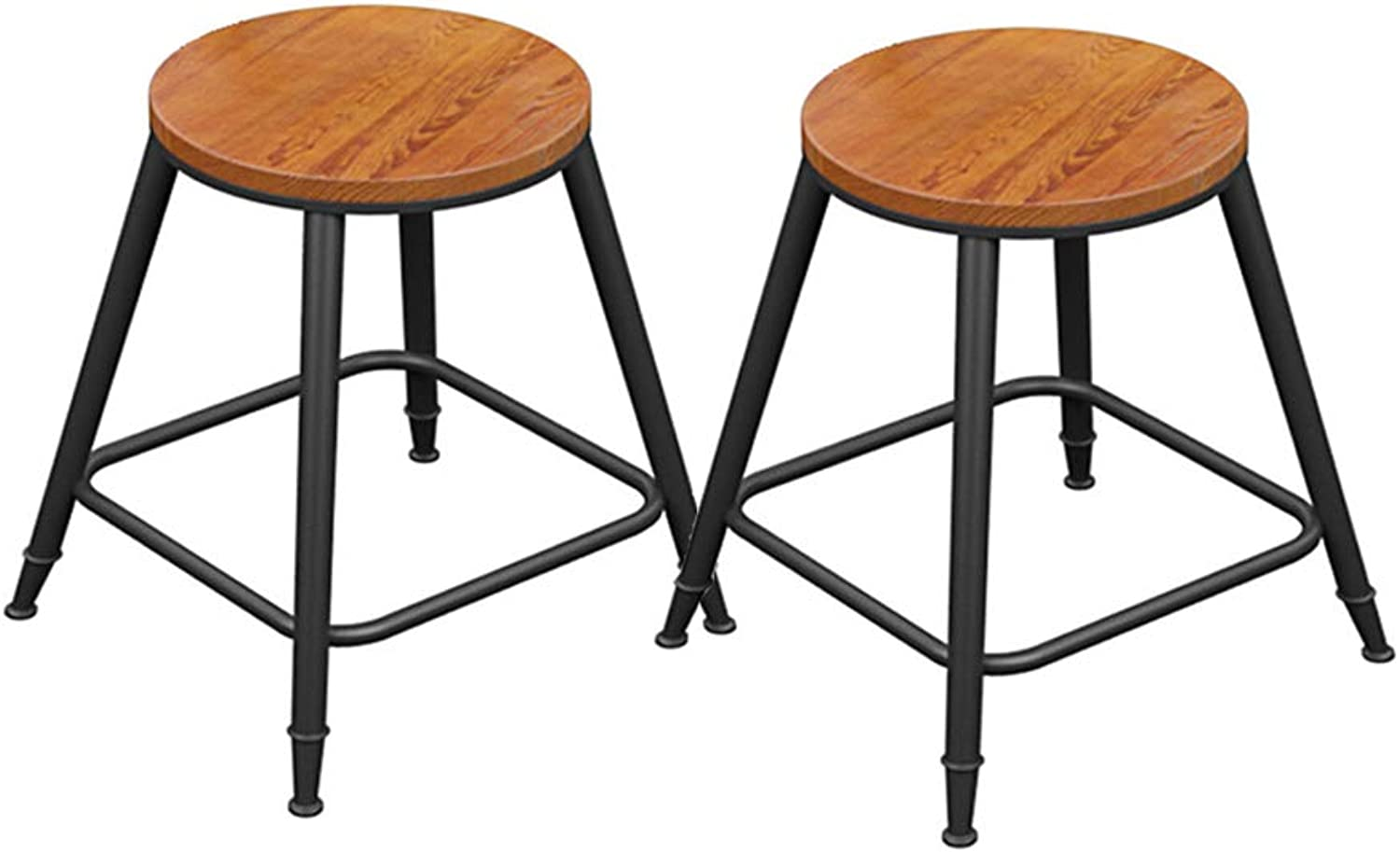 XJBD-Barstools 2 Pcs Bar Chair Kitchen Pub Stools Counter Kitchen Breakfast Dining Chair Counter Black Metal Frame Solid Wood Seat (Size   45cm)